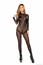 Roma Li121 Mesh Catsuit With V Details