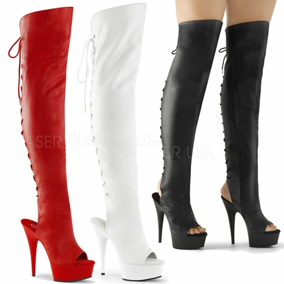 Pleaser Delight-3019 Open Toe/Heel Thigh High Boots