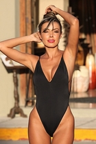 Ujena 1302 Black Fabulous Figure Shaper Bathing Suit Size 6