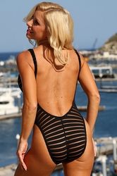 Sheer Stripes Double Dip Swimsuit