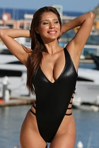 Ujena X103 Strappy Slick High Cut One Piece Bathing Suit Size 4
