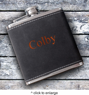 6oz Suede Flask with Orange Lettering - click to enlarge