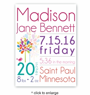 Baby Girl Announcement Canvas Sign - click to enlarge
