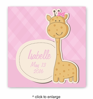 Baby Nursery Canvas Sign - Baby Girl Giraffe - click to enlarge