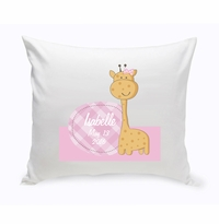 Baby Nursery Throw Pillow - Baby Girl Giraffe
