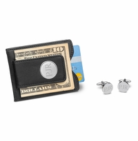 Black Leather Wallet and Classic Round Cufflinks Gift Set
