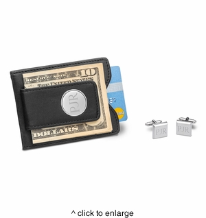 Black Leather Wallet and Cufflinks Gift Set - click to enlarge