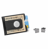 Black Leather Wallet and Gunmetal Square Cufflinks Set