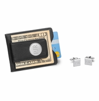 Black Leather Wallet and Modern Square Cufflinks Gift Set