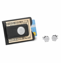 Black Leather Wallet and Pin Stripe Cufflinks Set