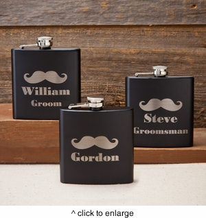 Personalized Black Matte Mustache Flask - click to enlarge