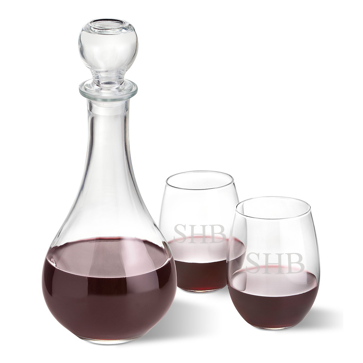 Bormioli Rocco Loto Wine Decanter with stopper and 2 Stemless Wine ...