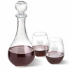 Bormioli Rocco Loto Wine Decanter with stopper and 2 Stemless Wine Glass Set - click to enlarge