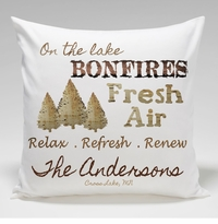 Cabin Throw Pillow-Bonfires
