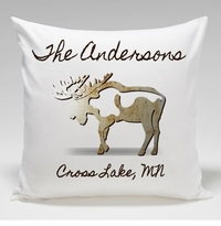 Cabin Throw Pillow-Moose