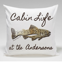 Cabin Throw Pillow-Trout