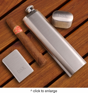 Cigar Case, Flask and Brushed Chrome Lighter Gift Set - click to enlarge