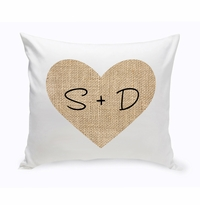 NEW Couples Burlap Heart Throw Pillow