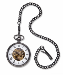 Gunmetal Gray Exposed Gears Pocket Watch & Chain