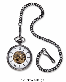 Gunmetal Gray Exposed Gears Pocket Watch & Chain - click to enlarge