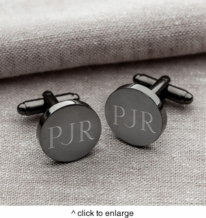 Gunmetal Round Cuff Links - click to enlarge