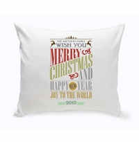 Holiday Throw Pillow - Christmas Words