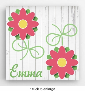 Personalized Flowers Kids Canvas Sign - click to enlarge