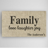 Love, Laughter & Joy Family Canvas Sign