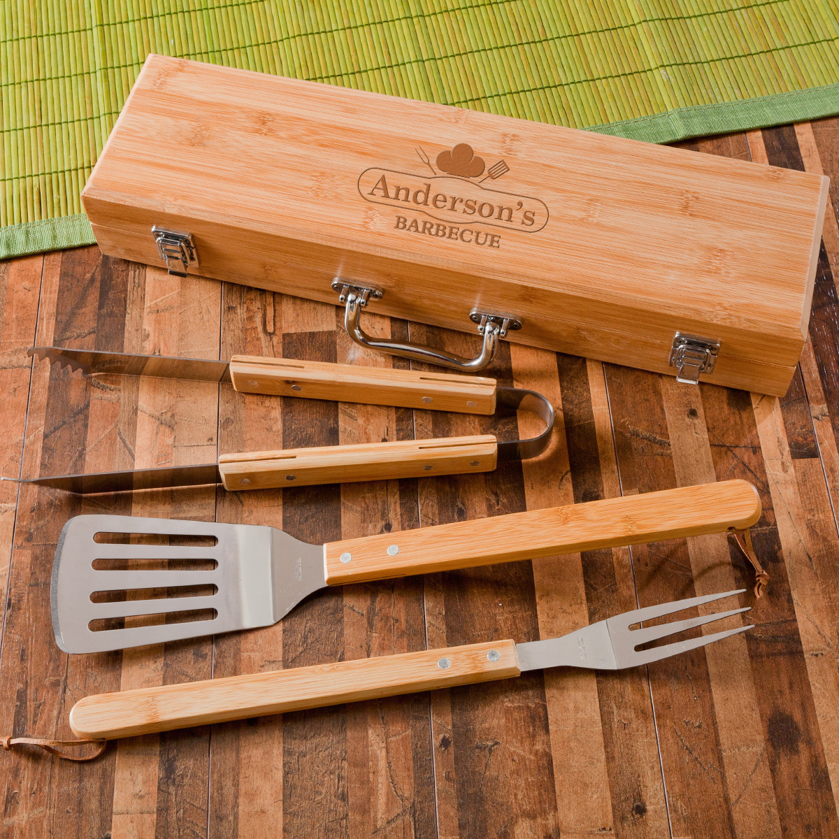 Wholesale personalized gifts dropship wholesale engraved gifts monogrammed grilling bbq set with bamboo case negle Image collections