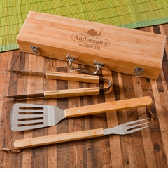 Monogrammed Grilling BBQ Set with Bamboo Case