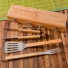 Monogrammed Grilling BBQ Set with Bamboo Case - click to enlarge