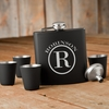 Monogrammed Black Matte Flask Gift Set - click to enlarge