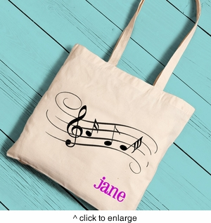 Music Notes Girl Canvas Tote - click to enlarge