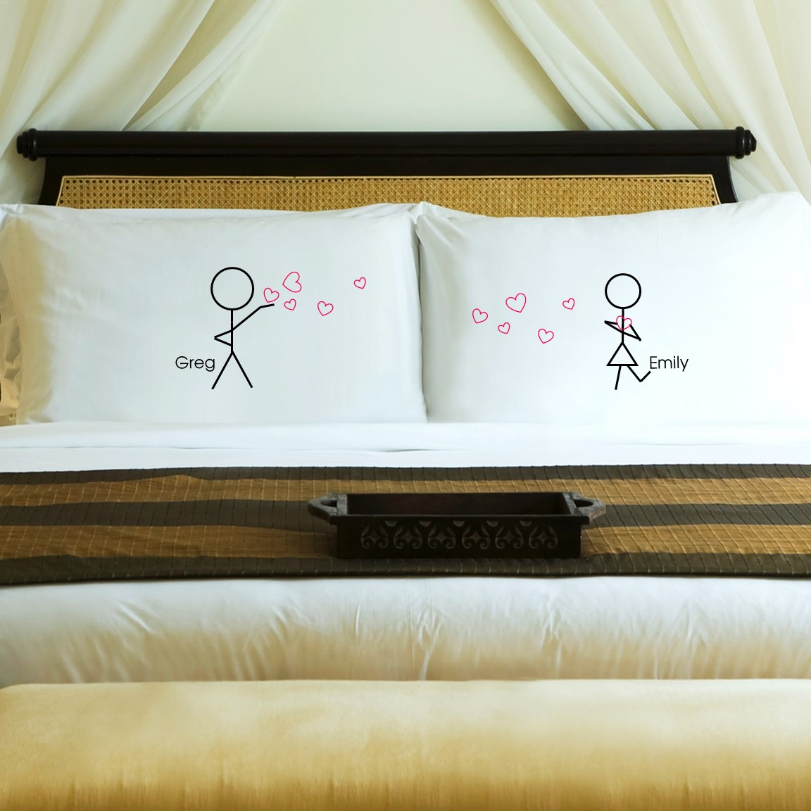 New Couples Stick Figure Pillow Case Set