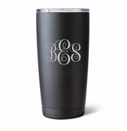 Personalized 20 oz. Black Matte Double Wall Insulated Tumbler - Interlocking Monogram
