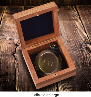 Personalized Antiqued Keepsake Compass with Wooden Box  - click to enlarge