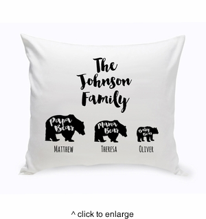 Personalized Bear Family Throw Pillow - click to enlarge