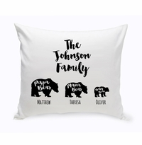 Personalized Bear Family Throw Pillow