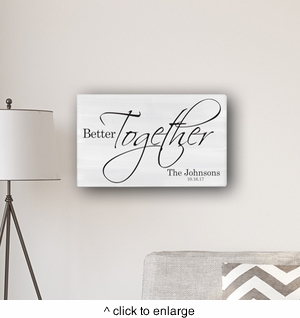 "Personalized Better Together Modern Farmhouse 14"" x 24"" Canvas Sign - click to enlarge"