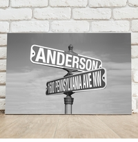 Personalized Black and White Street Sign Intersection Canvas