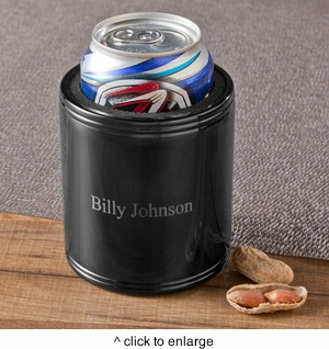 Personalized Black Metal Can Cooler - click to enlarge