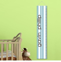 Personalized Blue Stripes Growth Chart