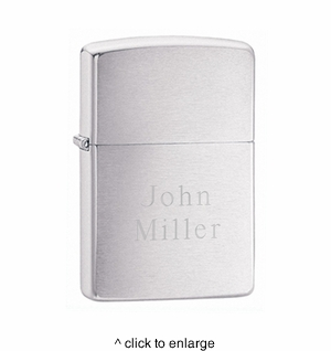 Personalized Brushed Chrome Zippo Lighter - click to enlarge