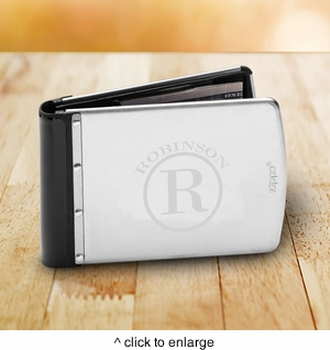Personalized Brushed Silver Zippo Wallet - click to enlarge