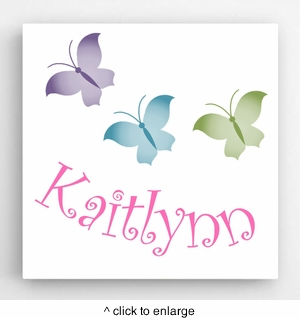 Personalized Butterflies Kids Canvas Sign - click to enlarge