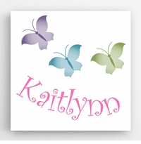 Personalized Butterflies Kids Canvas Sign