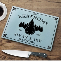 "Personalized ""Cabin"" Series Glass Cutting Boards"