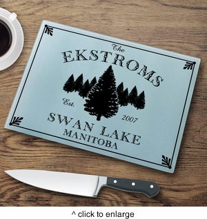 Personalized cabin series glass cutting boards negle Choice Image