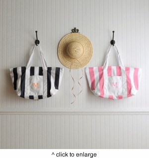 Personalized Candy Striped Beach Tote Bag - click to enlarge