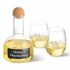 Personalized Chalkboard Wine Decanter in Wood Crate with Set of 2 Stemless Wine Glasses - click to enlarge